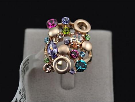 """Prstan iz 18k zlata """"Colorful Crystals"""""""